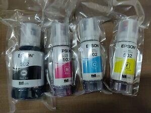 NEW Genuine Epson 502 Ink Bottle Set - WORKS w/ALL ECO-TANK printers using 502