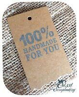 LOT 10 ÉTIQUETTE TAGS KRAFT CREATION FAIT MAIN HANDMADE CADEAU PERSONNALISE