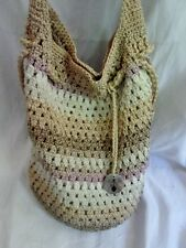 THE SAK Hobo Shoulder Bag Knit Vegan Handbag Purse Hippie Sling BEIGE NATURAL