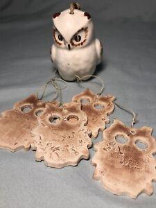 Brown White Pottery Ceramic Owl Bird Wind Chimes Outdoor Decor Backyard Garden