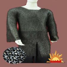 MEDIEVAL COSTUME CHAINMAIL SHIRT HAUBERK-Large size 10 MM SCA/ LARP