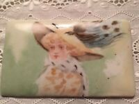 Antique Miniature Portrait Hand Painted Porcelain T & V Limoges Plaque-