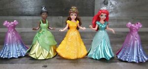 Disney Princess Magic Clip Lot 3 Doll Polly Pocket Tiana Ariel Belle 2009