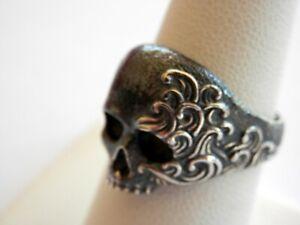 DAVID YURMAN Mens Sterling Silver Waves Skull Ring Size 10.5