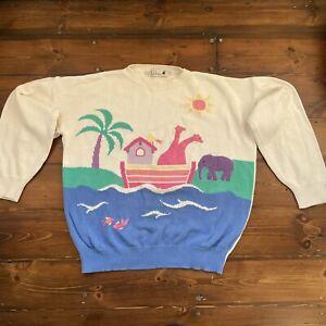 Tulchan Vintage Multicolour Ark Animals Jumper Size XL Kitsch Appliqué Knitted