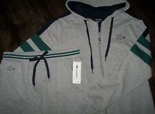 NWT Lacoste Sleepwear 2-Pc Gray/Green Hoodie~Pants LOGO SET Men's L French Terry