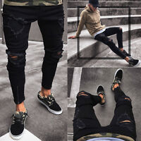 Mens Punk Jeans Trousers Skinny Stretch Slim Fit Ripped Destroyed Denim Pants