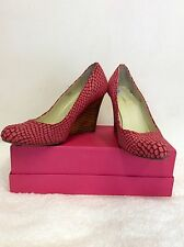 Maxstudio Pink Suede & Leather Pelle di Serpente Tacco A Zeppa Misura 6/39