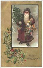 AH670 Santa Claus St Nicholas Brown Robe Christmas Tree Toys Embossed Early PC