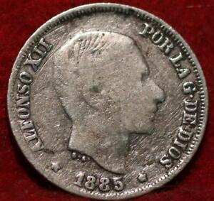 1885 Philippines 10 Centimos Silver Foreign Coin