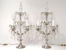 Paire girandoles 4 feux à pampilles cristal taillé bronze argenté XIXème