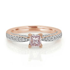 Real 0.88ct Natural Fancy Pink Diamond Engagement Ring 18K Solid Gold Princess