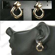 CLIP ON 2.5cm small diamond shape EARRINGS cute clips GOLD TONE retro hoops