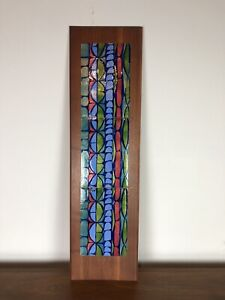 Mid Century Modern Abstract Art Copper Enamel Wall Plaque; Judith Daner Style