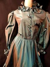 PUR VINTAGE  80  ROBE EN SOIE BLEUE SHERRER COUTURE T42/ BLUE SILK DRESS