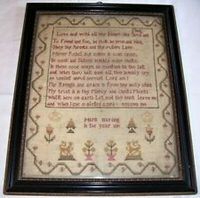 FINE ANTIQUE EARLY C19th GEORGIAN SAMPLER MARIA HARDING DATED 1801 HOGARTH FRAME
