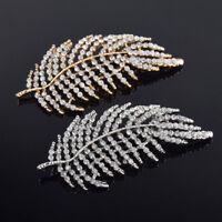 Rhinestone Crystal Diamante Feather Wedding Bridal Bouquet Brooch Pin Jewelry