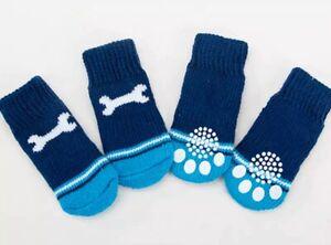 4 Cute Pet Socks Puppy Dog Indoor Soft Warm Cotton Anti-slip Blue Bone Free Post
