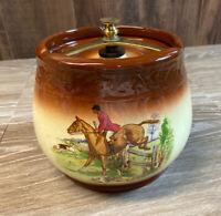 Tobacco Jar Humidor Crown Devon Fieldings England 1337 Brown Hunting Scene