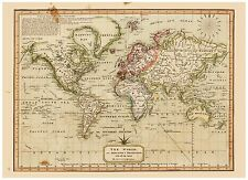 Vintage Old decorative World Map Melish 1814 paper or canvas