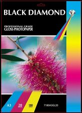 20 Sheets Black Diamond A3 Professional Grade Gloss Inkjet Photo Paper 180gsm