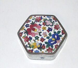 SMALL FLORAL CLOISONNE WHITE ENAMEL HEXAGON TRINKET JEWELRY BOX