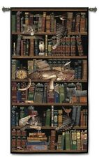 TIGER CATS SLEEPING IN THE LIBRARY BOOKS ART TAPESTRY WALL HANGING 34x74