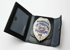 Badge Wallet Black Leather Police Security Concealed Carry ID Holder Wallet Only