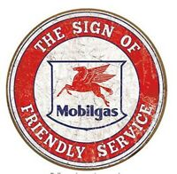 MOBILGAS AND OIL ROUND TIN SIGN FRIENDLY SERVICE  RUSTIC METAL GAS STATION