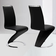 Dining Side Chair Set of 2 Black Faux Leather Seat Modern Z Shape C Base Kitchen