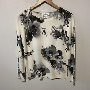 Magaschoni Cashmere 100% Women's Cream Gray Floral Crew Neck Knit Sweater S Euc