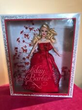 2012 Holiday Blonde Barbie Doll With Red Satin Strapless Gown Earrings Necklace