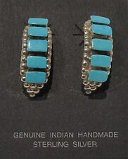 Native American Zuni Earrings - Turquoise - Sterling - Post - signed J