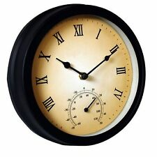 Traditional Garden 20cm Wall Clock with Thermometer