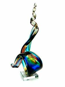 Massive 38cm Murano Multi Coloured iridescent Art Glass Sculpture AMAZING!