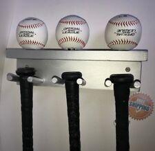 Baseball Bat Rack Display Holder 5 Full Size Bats 3 Balls Silver Wall Mount