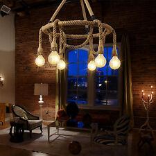 6Light Vintage Industrial Pendant Lamp Retro Edison Nautical Manila Rope Ceiling