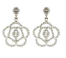 Oscar de la Renta Swarovski Crystal Flower Camellia Dangles Clip on Earrings NEW