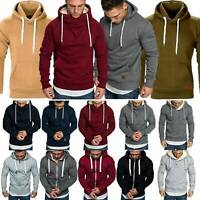 Mens Winter Hooded Pullover Jumper Tops Hoodies Gym Sweatshirt Casual Outwear AU