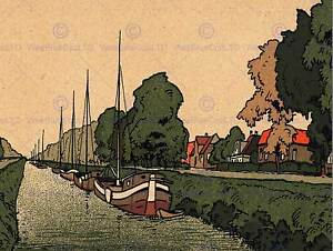 POSTCARD NETHERLANDS NEW CANAL AMSTERDAM BOAT BARGE ART PRINT POSTER CC936