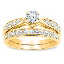 1.83 Ct Diamond Round Cut Halo 10k Yellow Gold Over Engagement Ring Bridal Set