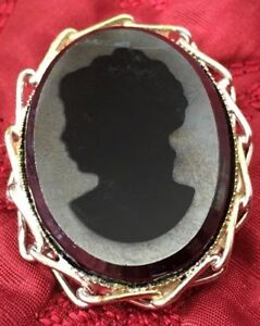Estate Victorian Woman Head Cameo on black gray stone Brooch Pin Pendant*