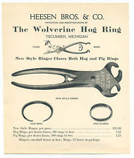 Heesen Bros. Hog Ring ad sheet - patented 1880