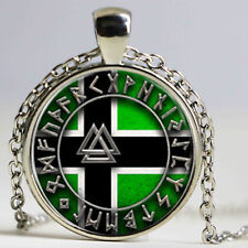 viking Flag with Valknut Symbols norse viking Glass jewelry Pendant Necklace