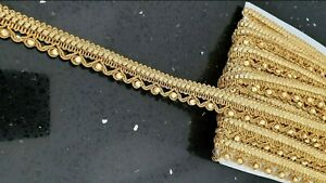 Gold Embroidered Lace Crystal Trim Edging Ribbon Band Costume Border Art Craft