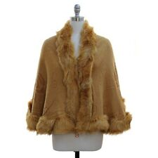 Faux Fur Cape Fit M L XL 1X 2X Plus Wrap Shawl Tan Knit Cloak Poncho Sweater NWT