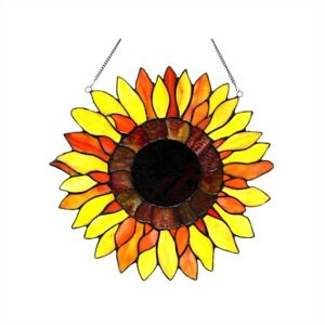 """Sunflower Floral Hanging Tiffany Style Stained Glass Window Panel Decor  16"""""""
