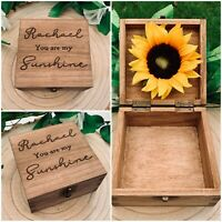 You Are My Sunshine Gift Box Sunflower Personalised Wooden Memory Box Valentine