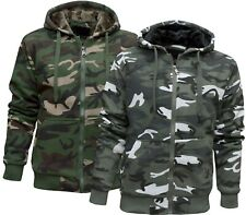 Mens Camouflage Hoodie Fur Lined Full Zip Army Camo Hooded Winter Jacket M - 3XL