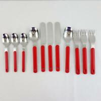Vintage Oneida Northland Colormate Red 11 Piece Stainless Steel Flatware Japan